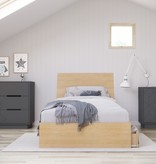 Nexera Ballet 4 Piece Twin Size Bedroom Set, Natural Maple and Charcoal Grey