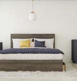 Nexera Poem 3 Piece Queen Size Bedroom Set, Bark Grey and Charcoal Grey