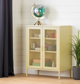 South Shore Crea Metal Mesh 2-Door Accent Cabinet, Pale Yellow