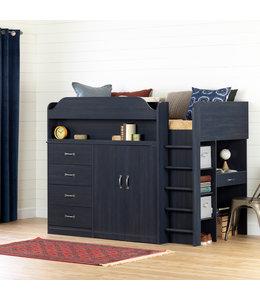 """South Shore Lit mezzanine simple (39"""") avec bureau, myrtille, collection Asten"""