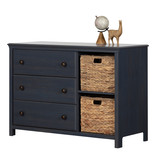 South Shore Cotton Candy 3-Drawer Dresser with Baskets, Blueberry