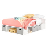 """South Shore Flexible Queen Size (60"""") Bed with Storage and Baskets, Pure White"""