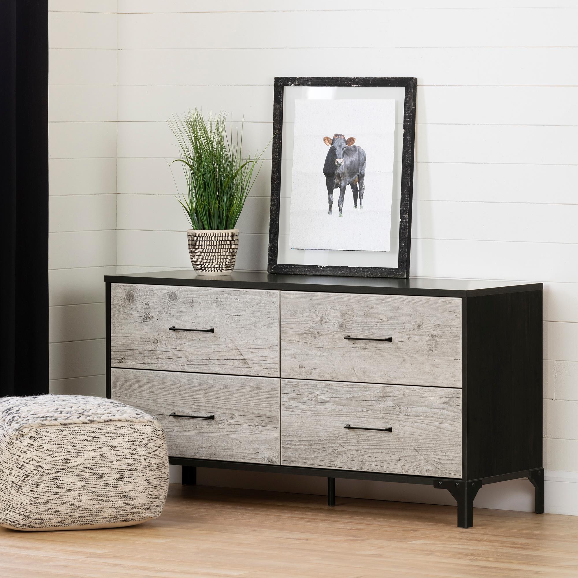 Valet 4 Drawer Double Dresser Seaside Pine And Ebony M2go