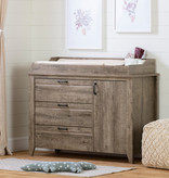 South Shore Lionel Changing Table with Drawers, Weathered Oak