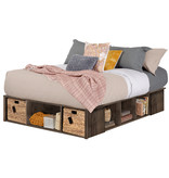 "South Shore Avilla Queen Size (60"") Storage Bed with Baskets, Fall Oak"