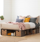 """South Shore Avilla Full Size (54"""") Storage Bed with Baskets, Fall Oak"""