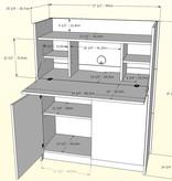 Nexera Chrono Secretary Desk, Nutmeg and Charcoal Grey