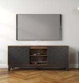 Nexera Hexagon TV Stand, 63-inch, Black and Truffle