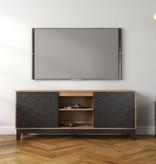 Nexera Hexagon TV Stand, 63-inch, Black and Nutmeg