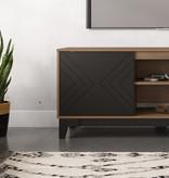 Nexera Arrow TV Stand, 63-inch, Black and Nutmeg
