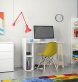 Nexera Atypik Open Storage Desk, White and Russian Birch