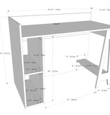 Nexera Atypik Open Storage Desk, Black and Russian Birch