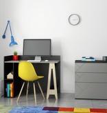 Nexera Atypik Open Storage Desk, Black, Greige and Russian Birch