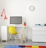 Nexera Atypik 2-Drawer Desk, White and Russian Birch