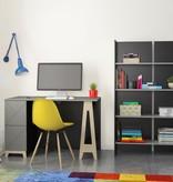 Nexera Atypik 2-Drawer Desk, Black, Greige and Russian Birch