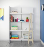 Nexera Atypik Bookcase, White and Russian Birch