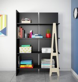 Nexera Atypik Bookcase, Black and Russian Birch