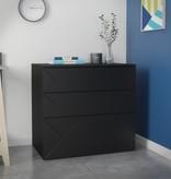 Nexera Atypik 3-Drawer Storage and Filing Cabinet, Black