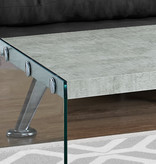 """Monarch Coffee table 44""""L, grey cement with temppered glass"""