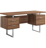 "Monarch Computer Desk 60"" Walnut and Silver Metal"