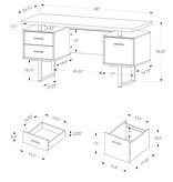 "Monarch Computer Desk 60"" White and Silver Metal"