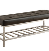 "Monarch BENCH - 48""L / BLACK LEATHER-LOOK / CHROME METAL"