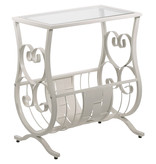 Monarch Accent Table, Antique White Metal and Tempered Glass