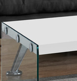 Monarch Coffee Table, Glossy White and Tempered Glass