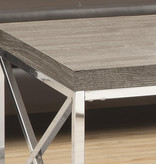 Monarch Coffee Table, Dark Taupe and Chrome