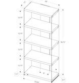 """Monarch Bookcase (60""""H), Dark Taupe and Tempered Glass"""