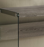 Monarch Console Table, Dark Taupe with Tempered Glass