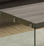 Monarch Coffee Table, Dark Taupe and Tempered Glass