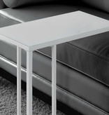 Monarch Accent Table, White Metal and Frosted Tempered Glass