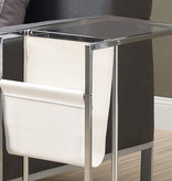 Monarch Accent Table with Magazine Rack, White and Chrome