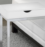 Monarch Accent Table with a drawer, Glossy White and Chrome