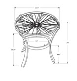 """Monarch Accent table (23""""D), Black metal and Tempered glass"""