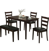 Monarch 5pc dining set, bench and 3 chairs, Cappuccino