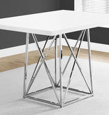 """Monarch Dining table (36"""" x 48""""), Glossy white and chrome metal"""
