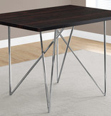 "Monarch Dining Table 32"" x 48"" Cappuccino and Chrome Metal"