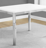 """Monarch Dining Table 32"""" x 48"""" White and Chrome Metal"""