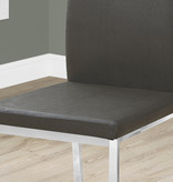 """Monarch Dining Chair 38""""H Grey Leather-Look and Chrome Metal, Mile End Collection"""