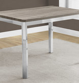 """Monarch Dining Table 32"""" x 48"""" Dark Taupe and Chrome Metal"""