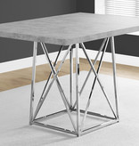 "Monarch Dining Table 36"" x 48"" Grey Cement Look and Chrome Metal"