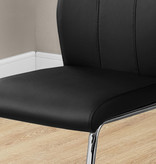 """Monarch Lilly Dining Chair 39""""H Black Leather Look and Chrome"""