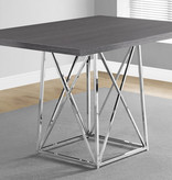 """Monarch Dining Table 36"""" x 48"""" Grey and Chrome Metal"""