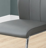 "Monarch Lilly Dining Chair 39""H Grey Leather Look and Chrome"