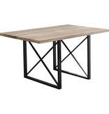 "Monarch Dining Table 36"" x 60"" Dark Taupe and Black Metal, Daya"