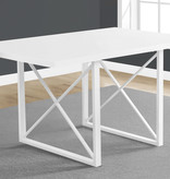 """Monarch Dining Table 36"""" x 60"""" White Glossy and White Metal Legs"""