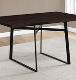 """Monarch Dining Table 36"""" x 60"""" Cappuccino Glossy and Black Metal Legs"""