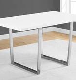 "Monarch Dining Table 36"" x 60"" White Glossy and Chrome Metal"
